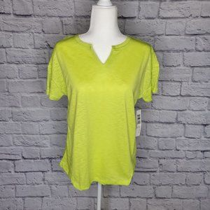 Tribal Lime Green SS Burnout Tee MED NWT